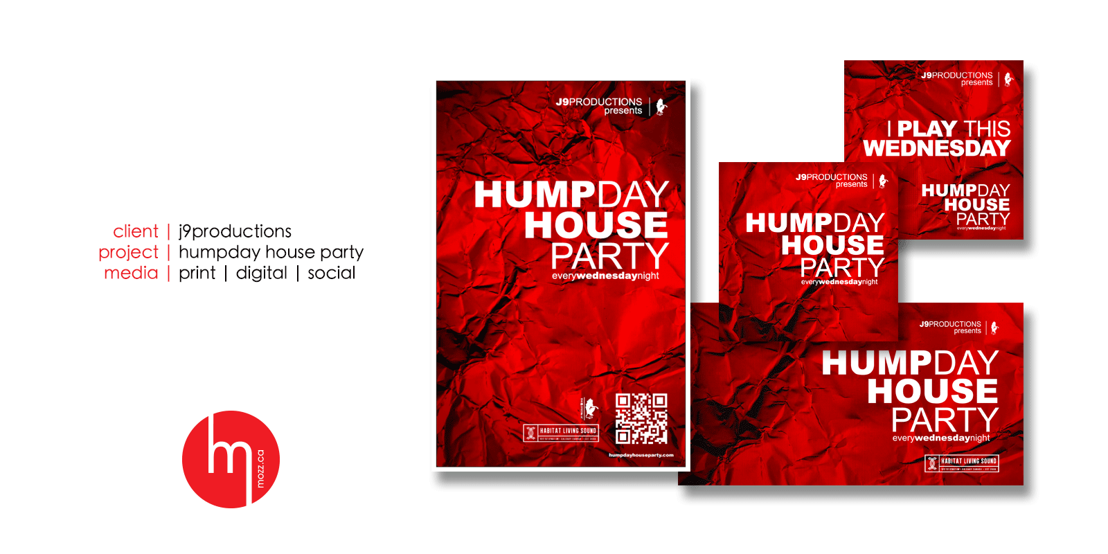 mozz.ca design sample for the humpday house party featuring digital social and print pieces