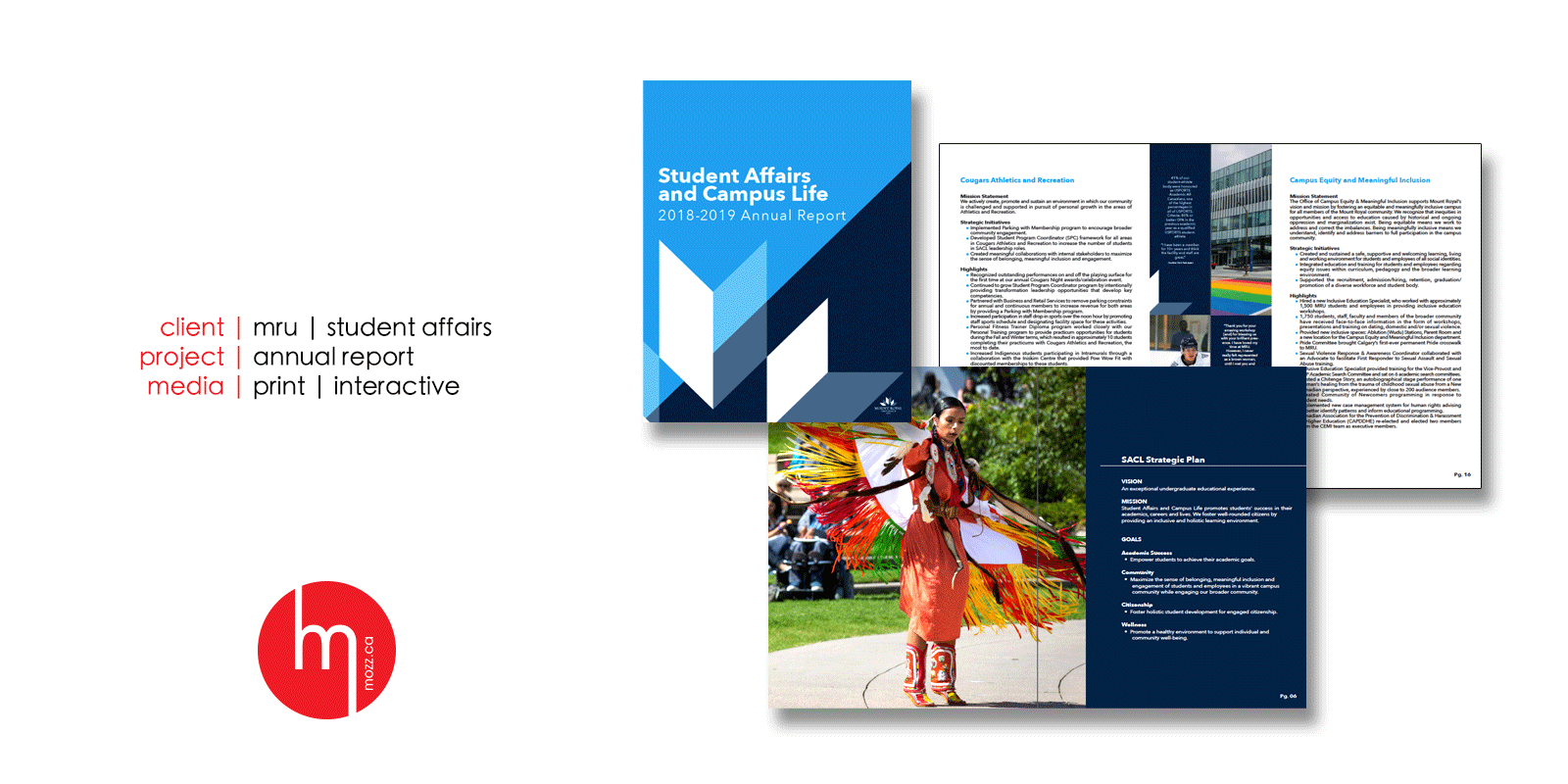mozz design of the 2018-2019 student affairs and campus life divisional annual report for mount royal university